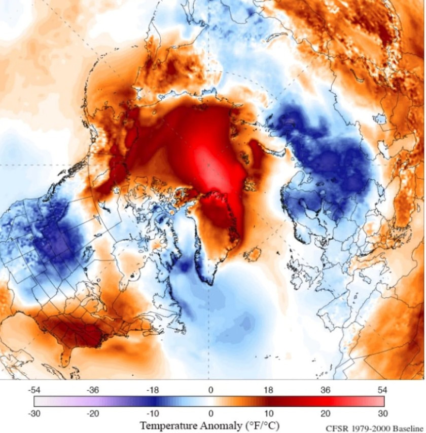 Temp Arctique 20 fév 2018