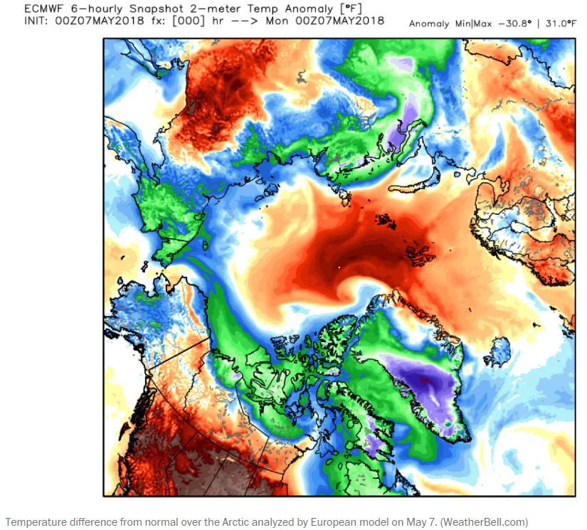 Météo Pôle Nord 7 mai